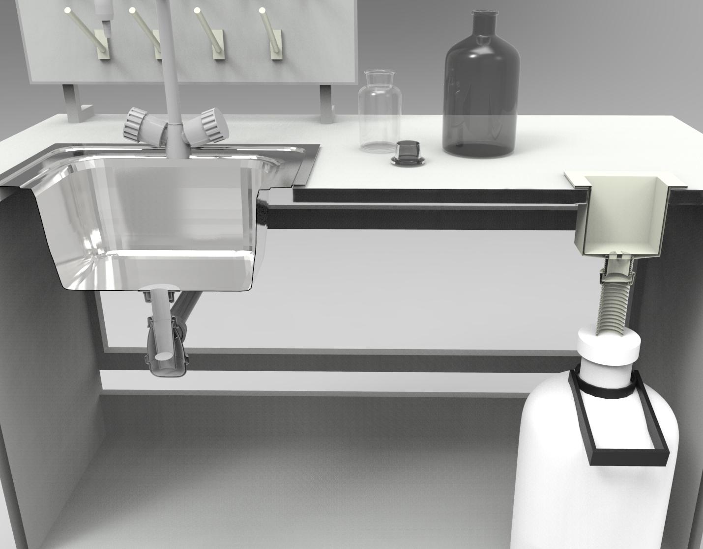 Схема установки сливной раковины и ёмкости для жидких химреактивов
