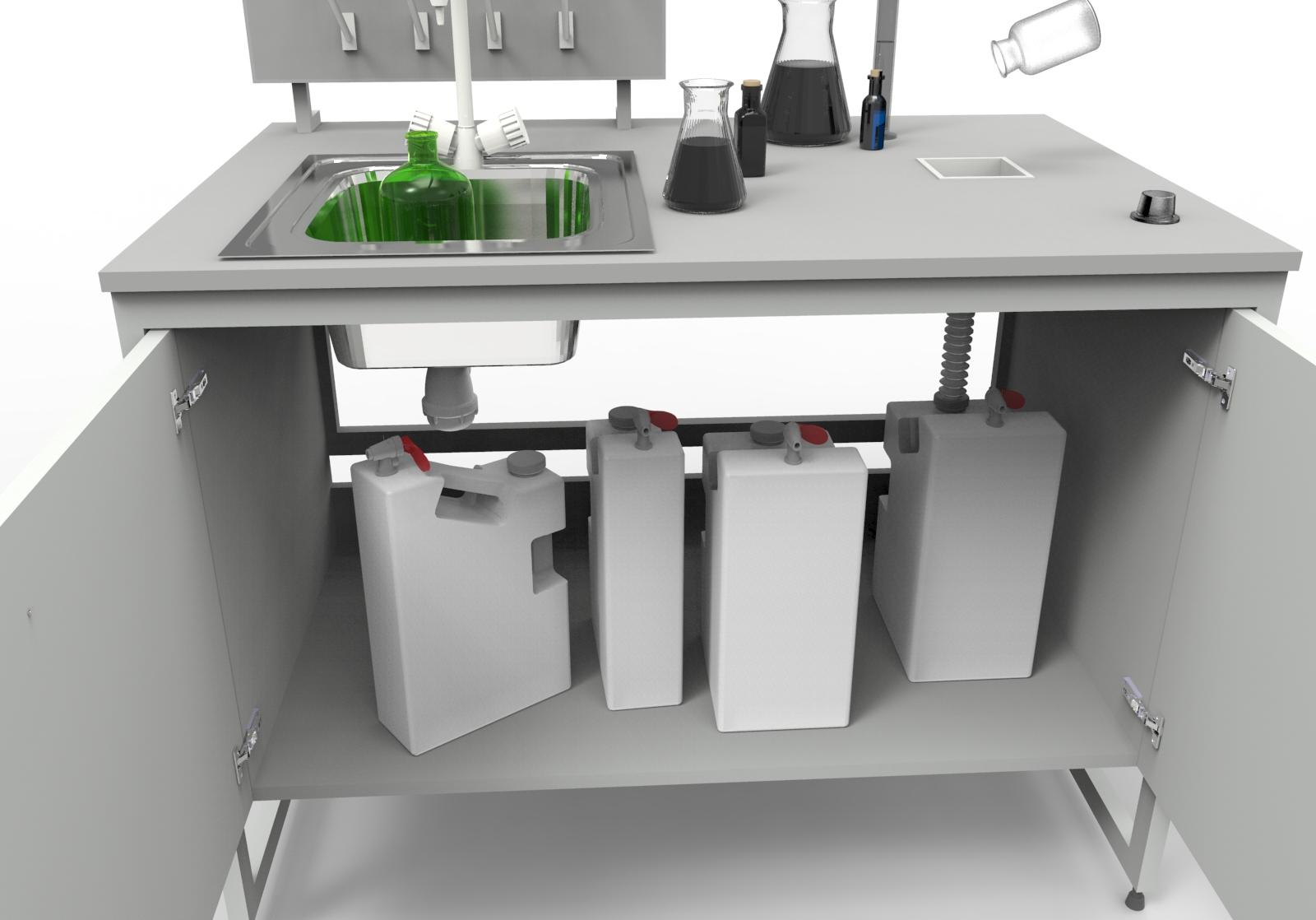 Использование контейнеров из PP в столах-мойках 1200