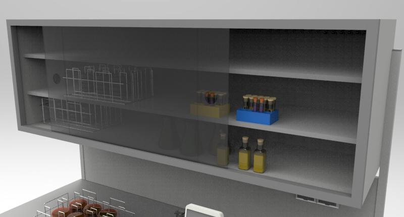 Стол лабораторный с закрытой полкой для In vitro исследований (для хранения штативов с чашками Петри,пробирками или контейнерами).