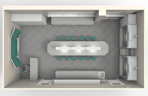 Типовая лаборатория для учебных заведений , мебель NordLine (3D)