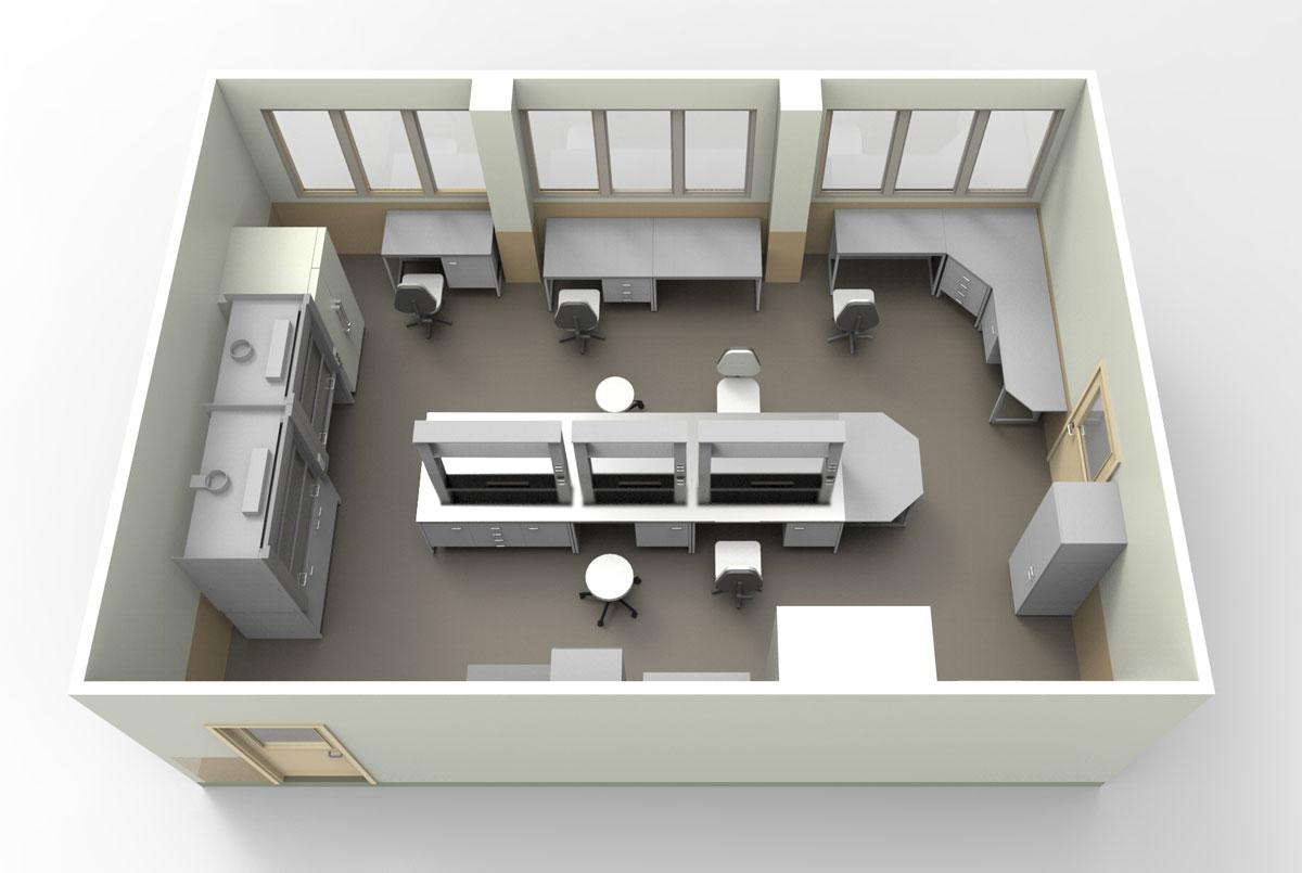 Типовая строительная лаборатория , мебель NordLine (3D)